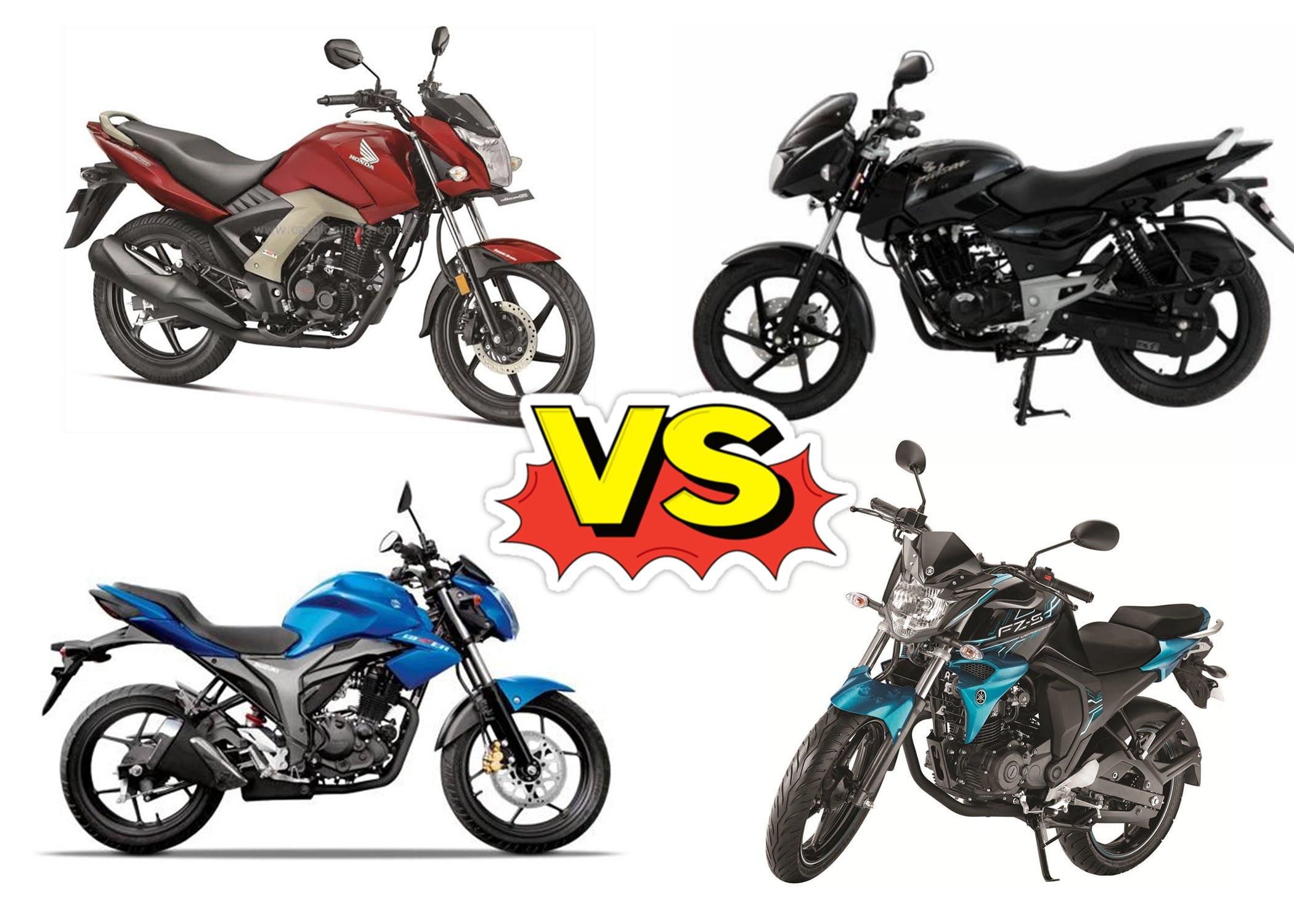 Unicorn 160 vs Pulsar 150 vs Yamaha FZ vs Suzuki Gixxer
