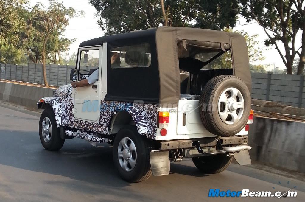 Mahindra Thar New Model Spy Pics Rear Carblogindia