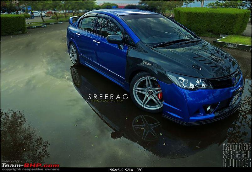 Modified Honda Civic In Kerela Blue Front Angle