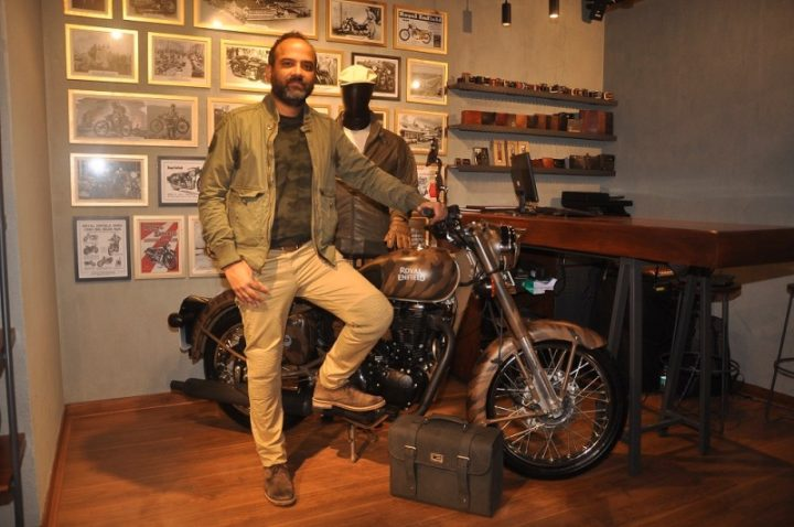 Mr Rudratej Singh, President, Royal Enfield with limited edition Despatch Rider