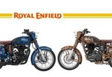 Royal Enfield Classic 500 squadron blue side launch