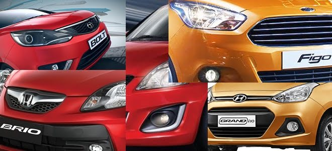 New Ford Figo vs Maruti Swift vs Hyundai Grand i10 vs Honda Brio vs Tata Bolt