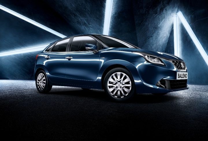 Automatic hatchback cars in India below 7 lakhs with Price, Specs, Mileage 2015-new-maruti-baleno-india-blue-Front 3-4th