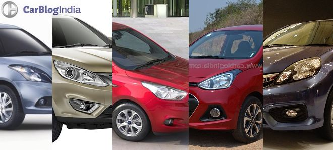 New 2016 Honda Amaze vs Ford Figo Aspire vs Maruti Swift Dzire vs Hyundai Xcent vs Tata Zest