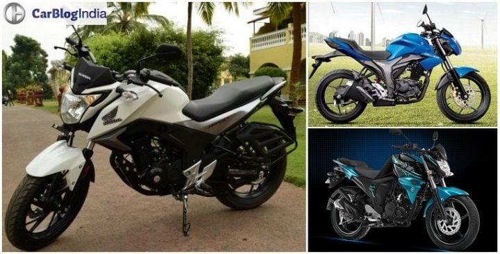 Honda CB Hornet 160R vs Suzuki Gixxer vs Yamaha FZ-S comparison price, specs, features, design, details