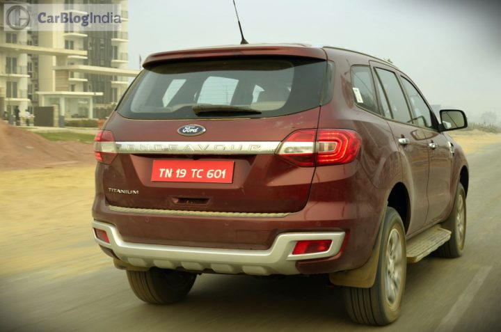 new ford endeavour india review action photo rear
