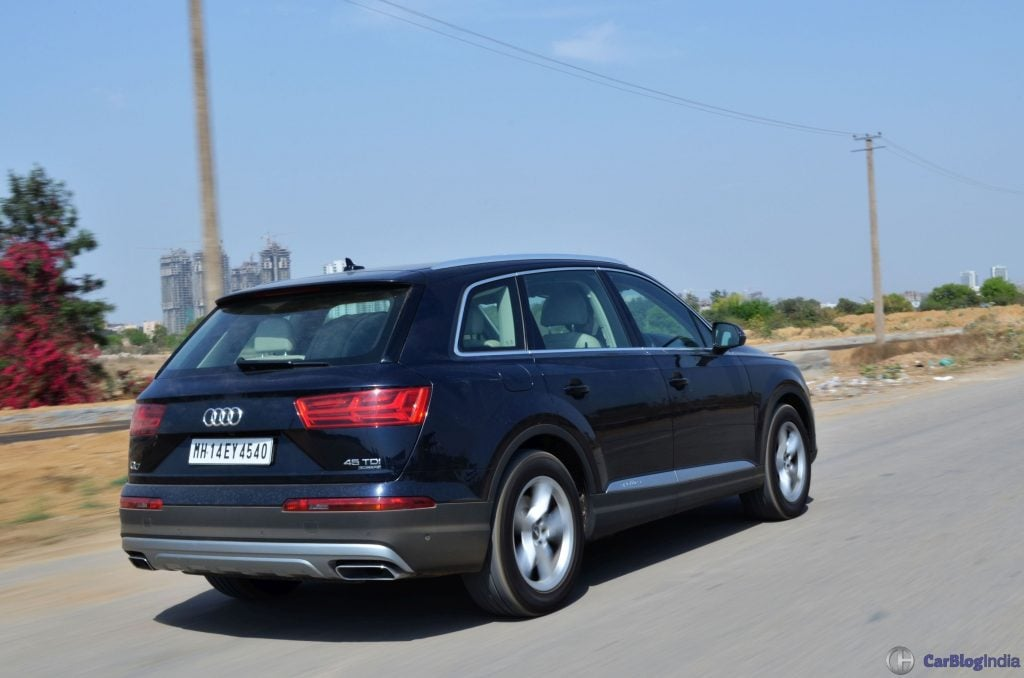 2016 Audi Q7 Test Drive Review Action Shot Rear Carblogindia