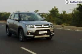 maruti vitara brezza review images front angle silver action 2