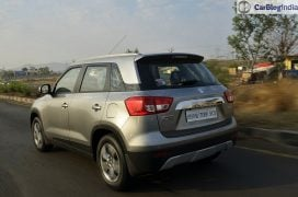 maruti vitara brezza review images side rear angle silver 5