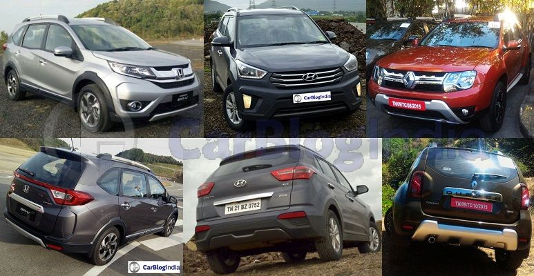 honda brv vs hyundai creta vs renault duster - comparison of specifications, mileage, prices