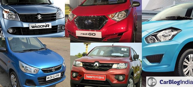 Renault Kwid vs Datsun Redi-GO vs Wagon R vs Alto K10 vs Datsun Go Comparison