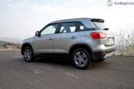 maruti vitara brezza review images side rear angle