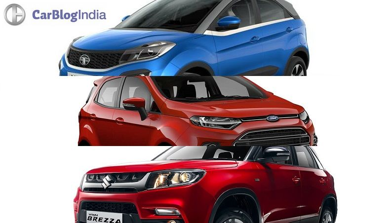 tata nexon vs vitara brezza vs ecosport comparison of price, specifications, features, design
