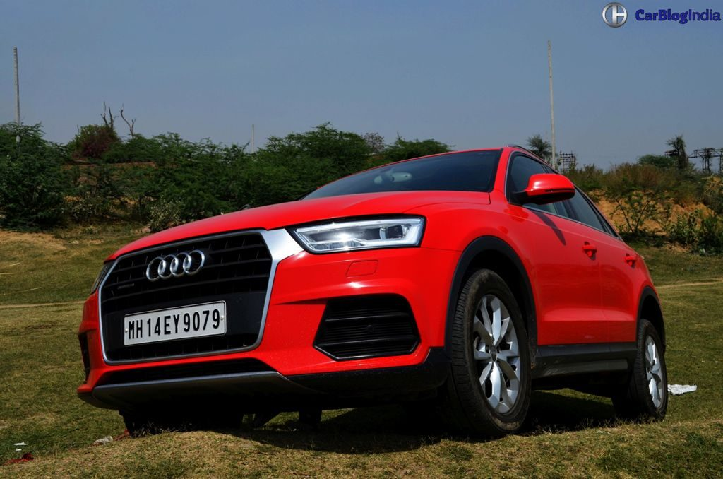 2015 audi q3 test drive review images nose low carblogindia. Black Bedroom Furniture Sets. Home Design Ideas