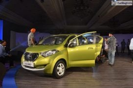 2016 datsun redi go official launch green front angle