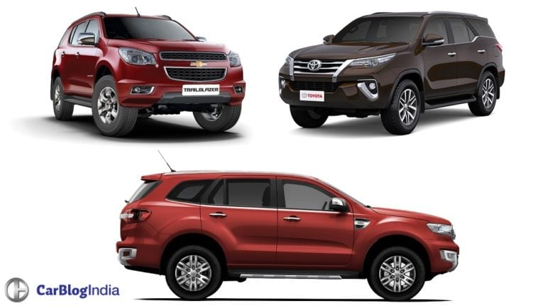New Toyota Fortuner vs Ford Endeavour vs Chevrolet Trailblazer Comparison