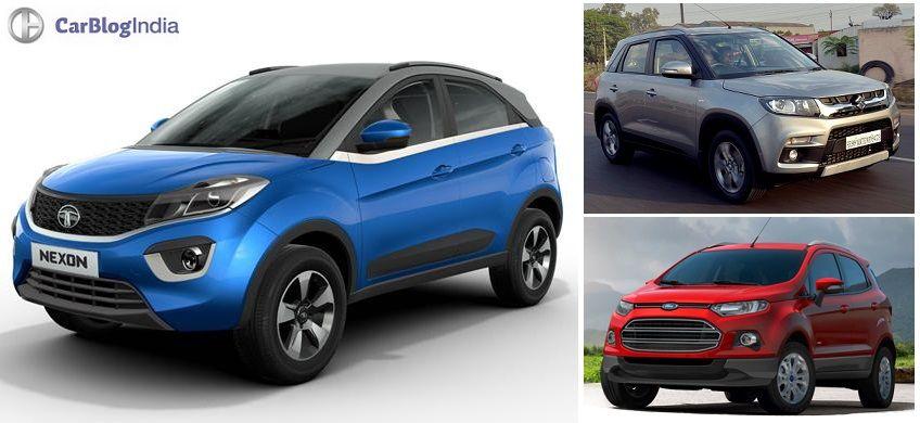 Tata Nexon Vs Vitara Brezza Vs Ecosport Comparison