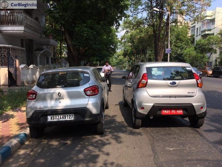 2016 Datsun Redi Go Vs Renault Kwid Rear Carblogindia