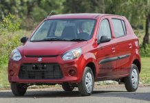 New 2016 Maruti Alto 800 facelift front three quarters images red