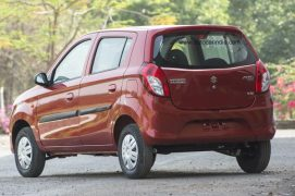 New 2016 Maruti Alto 800 facelift rear three quarters images red