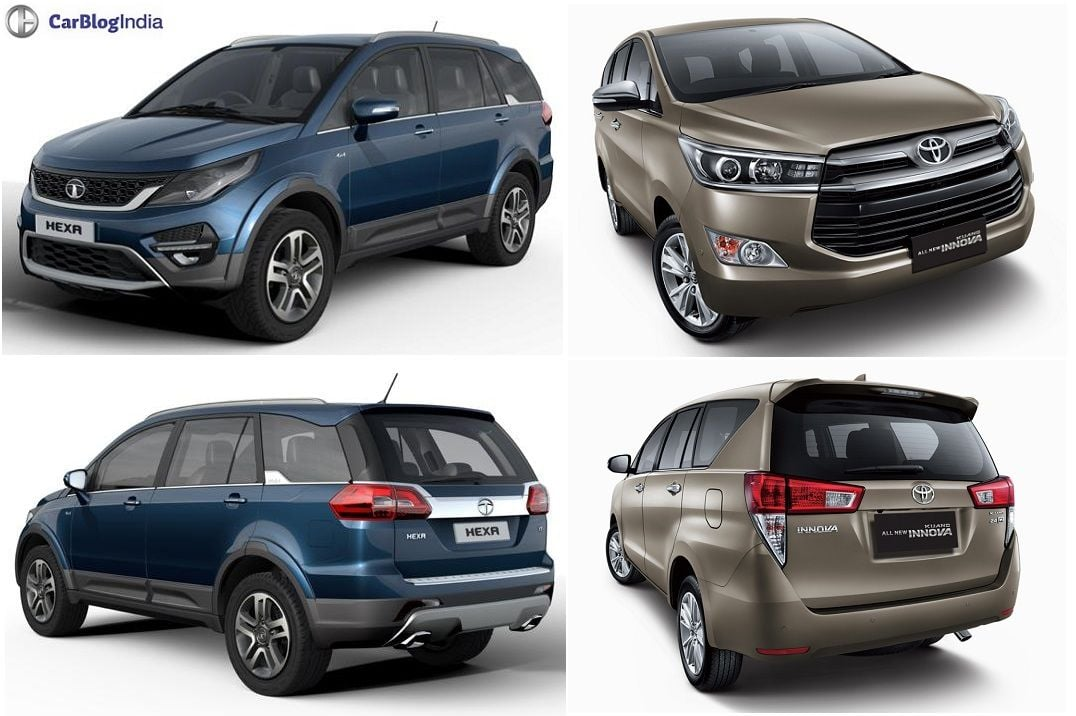Tata Hexa Vs Toyota Innova Crysta Comparison Of Price Specs
