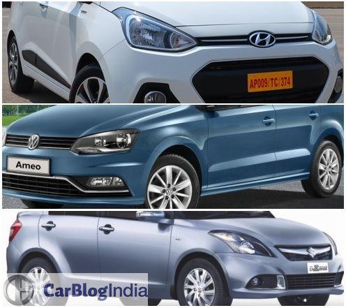 Volkswagen Ameo vs Maruti Dzire vs Hyundai Xcent Comparison of Prices, Specifications, Features, Mileage