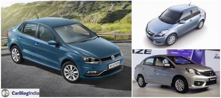 Volkswagen Ameo vs Maruti Swift Dzire vs Honda Amaze comparison pricel, specifications, mileage, dimensions, engine, design, features