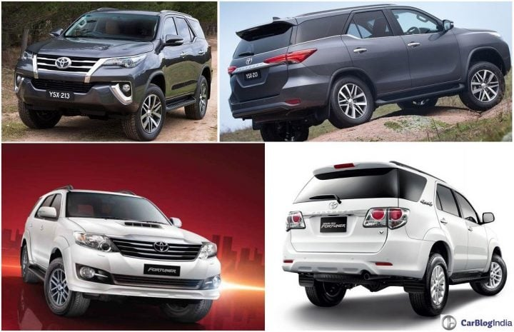 Toyota Fortuner Old vs New comparison design, interiors, features, specs, price, launch details