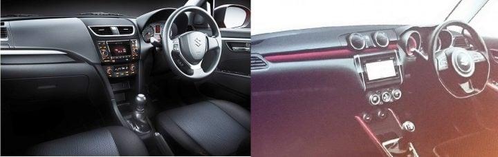2017 Maruti Swift vs Old Model interior dashboard
