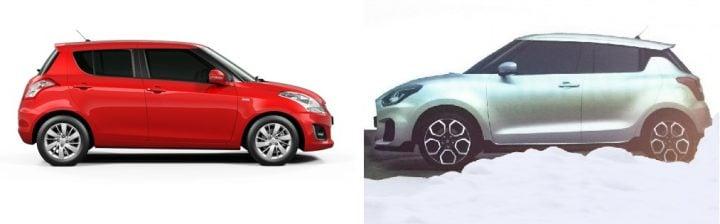 2017 Maruti Swift vs Old Model side profile