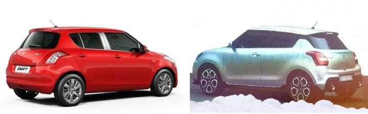 2017 Maruti Swift vs Old Model comparison ear side view
