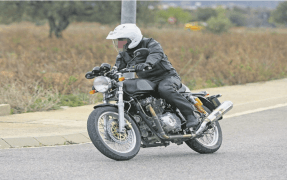 royal enfield 750cc bike images front angle action photo