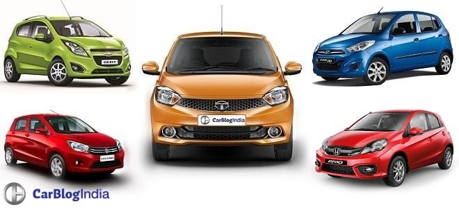 Tata Tiago vs Maruti Celerio vs Hyundai i10 vs Chevrolet Beat vs Honda Brio