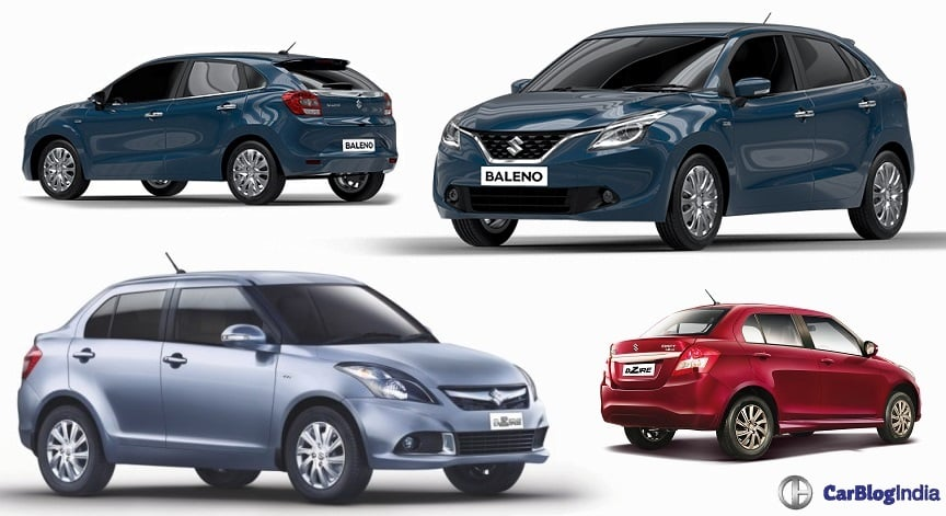 maruti baleno vs dzire comparison price mileage specification features. Black Bedroom Furniture Sets. Home Design Ideas