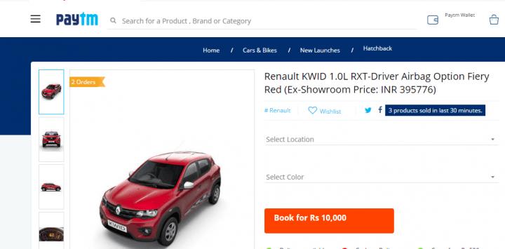 renault kwid 1.0 sce paytm bookings