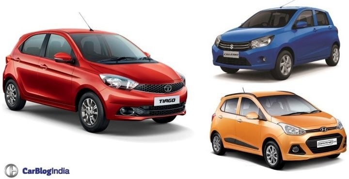 Tata Tiago vs Maruti Celerio vs Hyundai Grand i10 Comparison