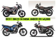 Best bikes in India under Rs 60000