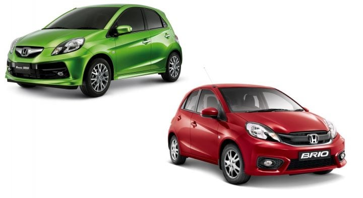 Honda Brio old vs new model- front angle