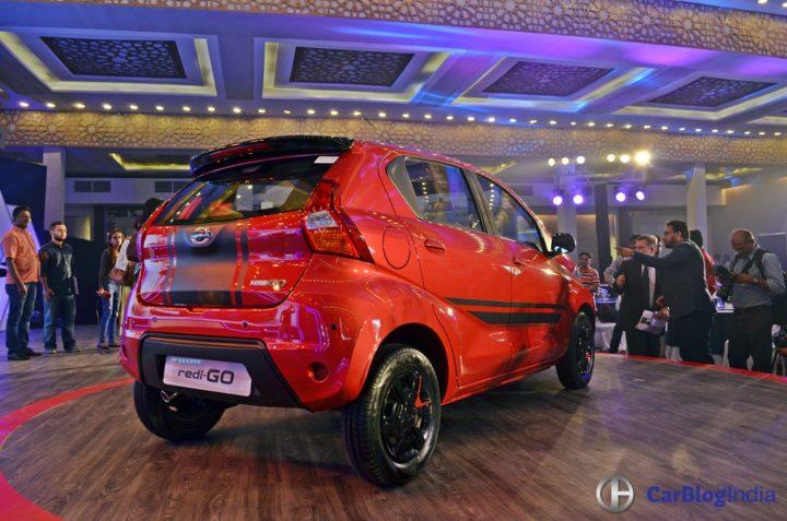 Limited Edition Datsun Redi Go Sport Price- 3.49 Lakh, Mileage, Images datsun-redigo-sport-launch-image-red-rear-angle