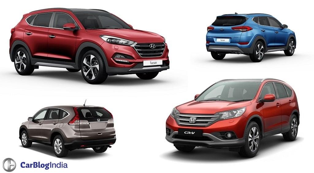 Hyundai tucson vs honda crv comparison price in india for Honda vs hyundai