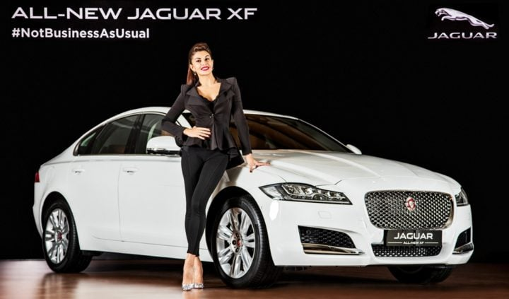 New 2016 Jaguar XF India Price - 49.50 lakh; Specificaitons, Features new-2016-jaguar-xf-india-official-images-front-angle-Jacqueline-fernandes