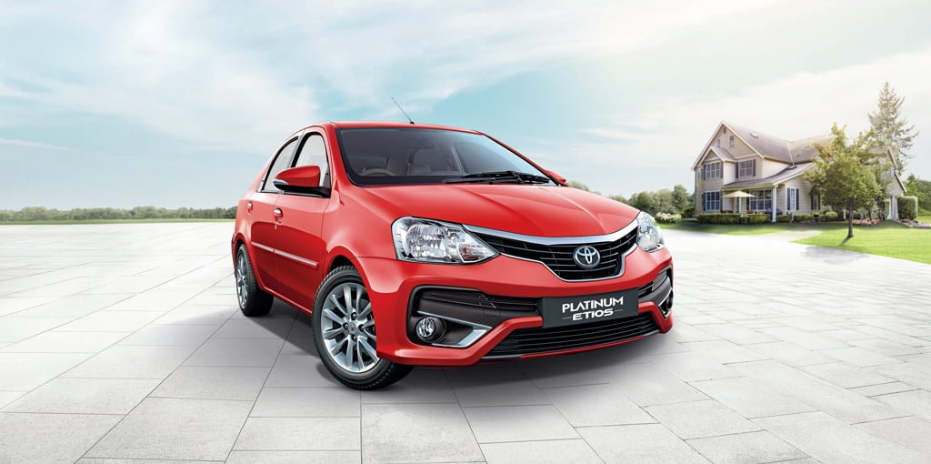 New Toyota Etios Platinum Red Official Images Front Angle