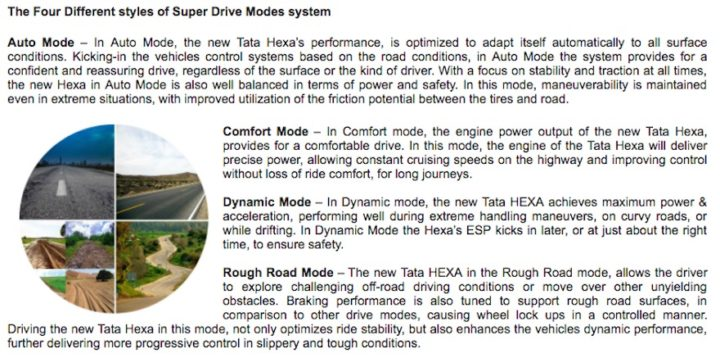 tata hexa super driving modes