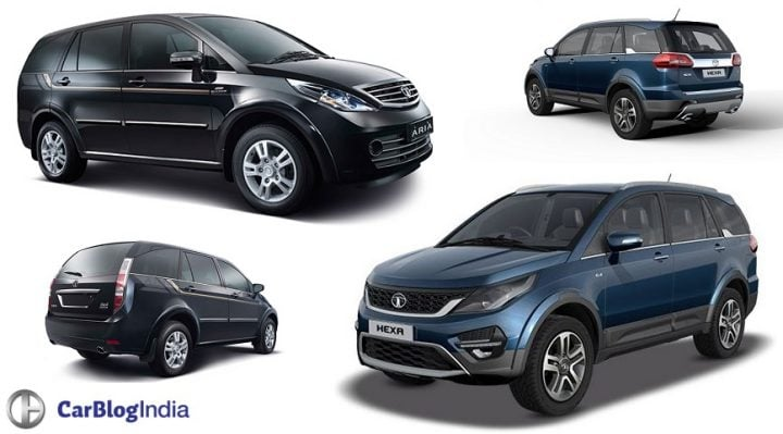 Tata Hexa vs Tata Aria Comparison of Price, Specifications, features tata-hexa-vs-tata-aria