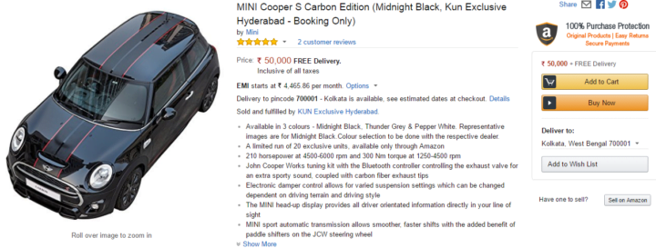 mini cooper s carbon edition amazon india