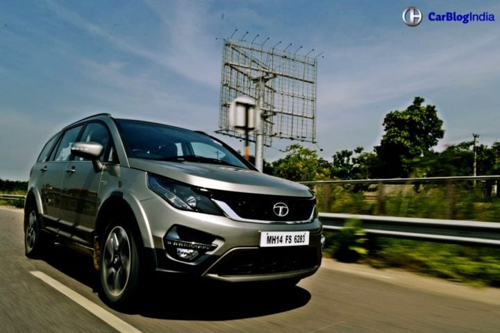 tata hexa test drive review images action front angle