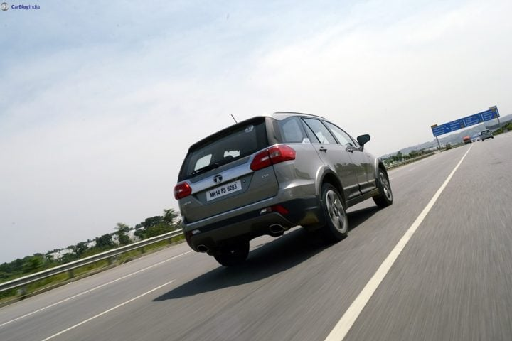 tata hexa test drive review images action rear angle