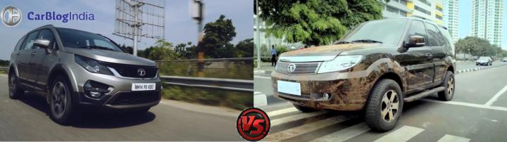 tata hexa vs tata safari storme comparison images