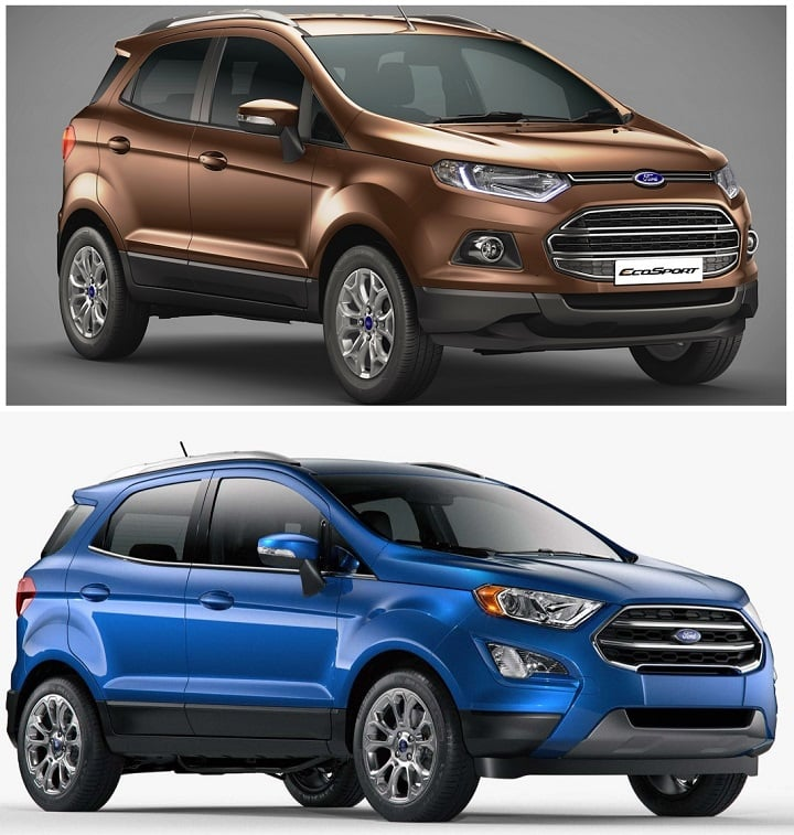 ford ecosport old vs new model price specification feature comparison. Black Bedroom Furniture Sets. Home Design Ideas