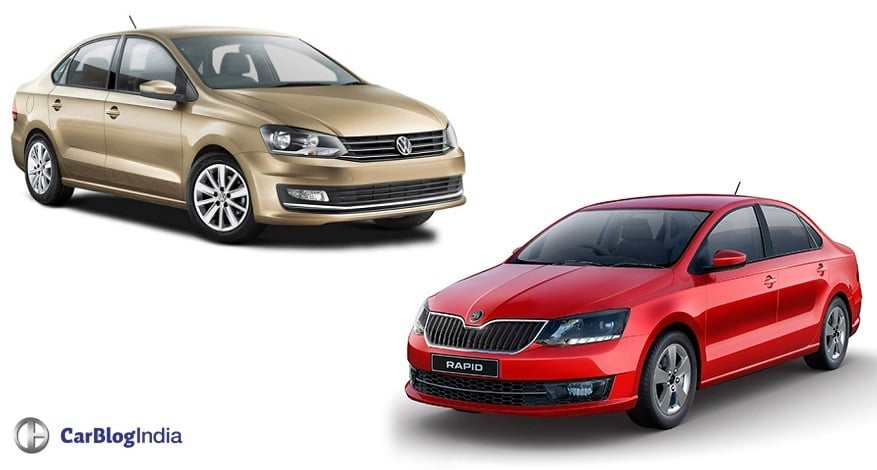 skoda rapid  volkswagen vento comparison  price specs
